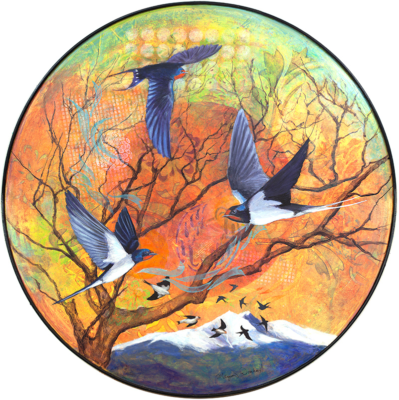 "Swallow Sonata 26"" Circle acrylic on hardwood panel inc. self frame"